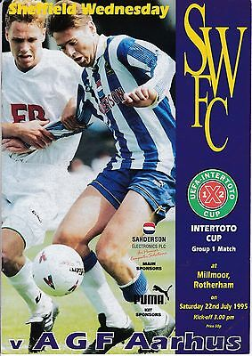 At Rotherham :  SHEFFILELD WEDNESDAY  v  AGF AARHUS ( Intertoto )  1995/6.