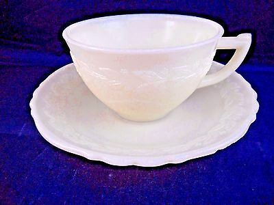Vintage McKee Laurel - French Ivory Depression Glass Cup and Saucer