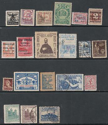 Spain Civil War Era Locals Collection 22 diff stamps