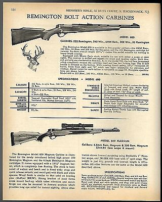 1968 REMINGTON Model 600 & 600 Magnum Bolt-Action Rifle AD w/specs & orig prices