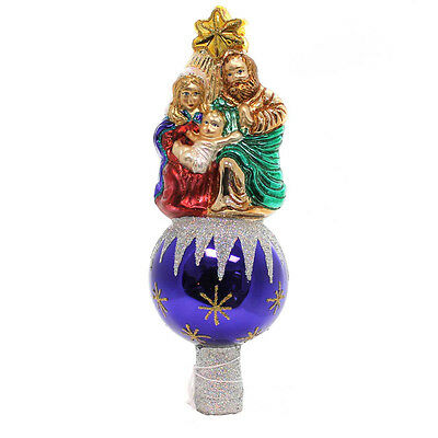 Old World Christmas NATIVITY TREE TOP Glass Finial Holy Family 50010.