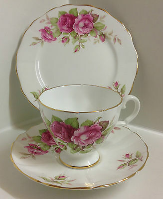 Beautiful English Bone China Hand Painted Pink Roses Floral Tea Set Trio.
