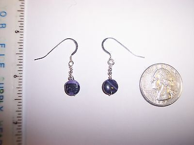 Richterite and Sugilite flat round earrings Reiki Lightworker Sterling Silver