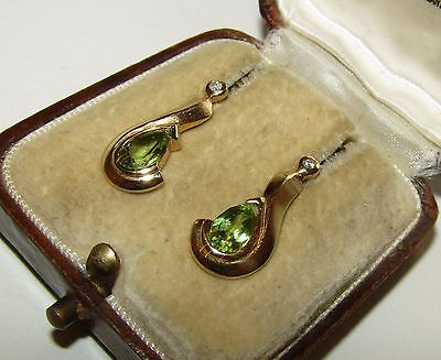 Classy, Art Deco, 9 Ct Gold Earrings With Fine Natural Peridot And Diamond