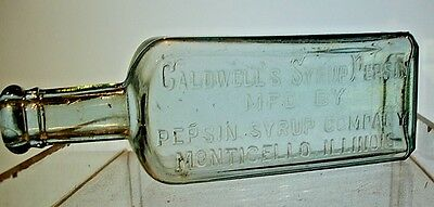 Antique Patent Medicine Bottle - Embossed Caldwell's Syrup Pepsin