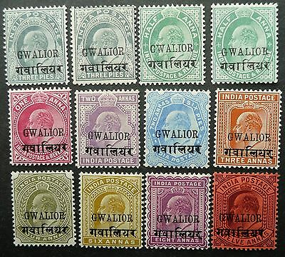 GWALIOR INDIA 1903 SELECTION OF 12 STAMPS UPTO 12a - MLH - SEE!