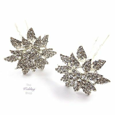 Bridal Wedding Prom Silver Crystal Large Flower Hair Pins Clips Grips HP26
