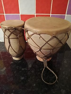Vintage Clay, Thumb Twin  Bongo Drums,hide Skin, Good Sound