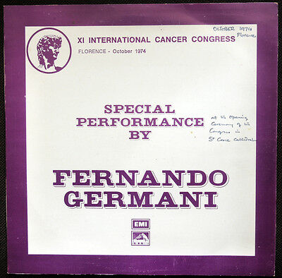 Fernando Germani Special Performance Florence Cancer Congress Rare LP EMI 1974