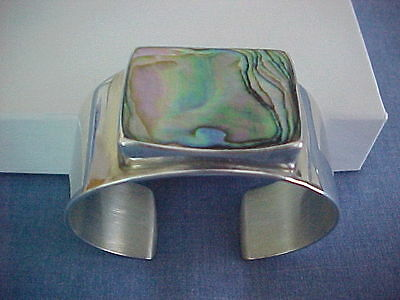 Palle Bisgaard P.bis Sterling Denmark Cuff Bracelet With Abalone Gorgeous Silver