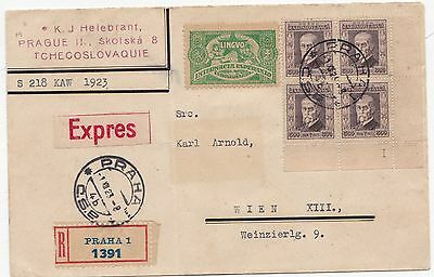 1923 Czechoslovakia Registered Express Cover 2 Diff Esperanto 'stamp' Labels