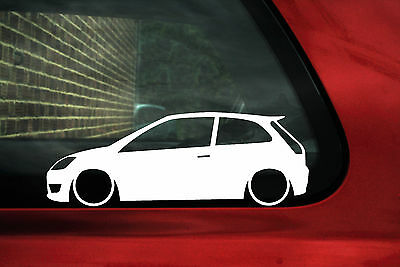 2x Low car outline stickers - for Ford Mk6 Fiesta ST ,Zetec-S