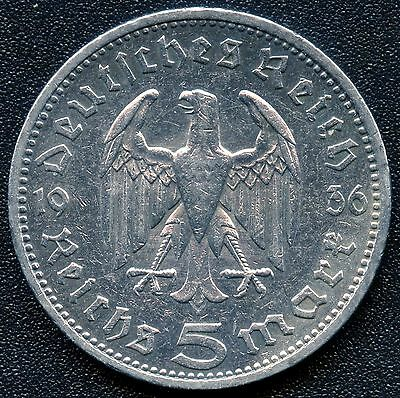 "1936 ""A"" Germany 5 Mark Silver Coin ( 13.88 grams .900 Silver )"