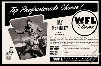 1952 Ray McKinley photo WFL Ludwig drums drum set kit vintage print ad