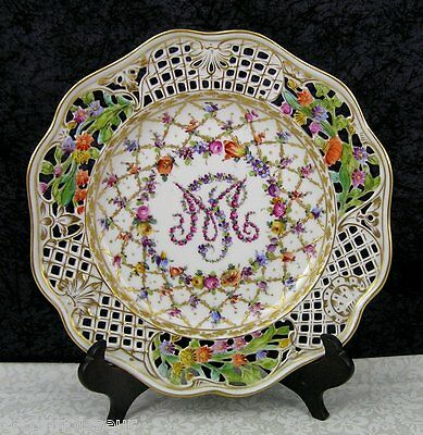 Antique Marie Antoinette Dresden Hand-painted Porcelain Salad Plate - 12 Avail.