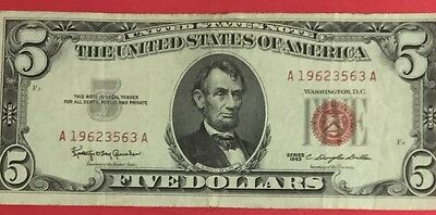 1963 $5 RED US Legal Tender Choice VF X563 Old US Paper MOney Currency!