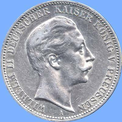 1910 'A' Germany (Prussia) 3 Mark Silver Coin (16.667 grams .900 Silver)