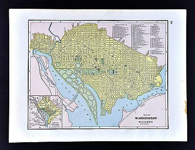 1891 Watson Atlas Map - Washington DC - Georgetown Capitol Mall White House