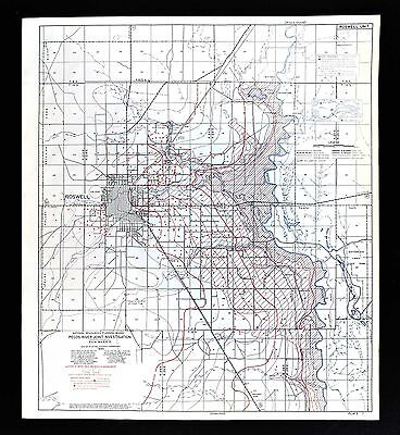 1940 Roswell New Mexico NM Map - Pecos River Water Table Depths & Wells