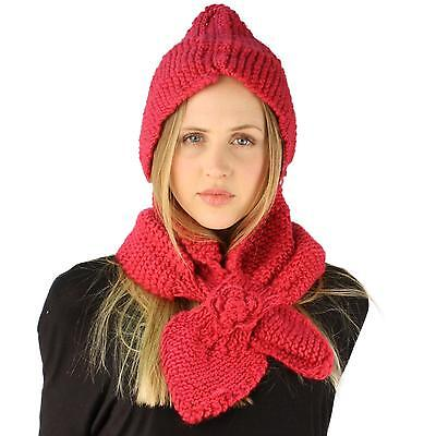 Winter Crochet Floral Hand Knit Hooded Scarf Pullover Headscarf Hoodie Hat Pink