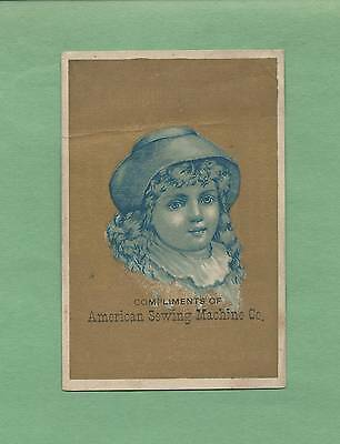 Lovely GIRL On AMERICAN SEWING MACHINE CO. Victorian Trade Card