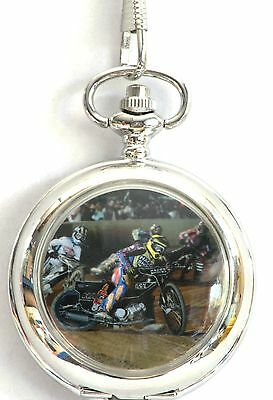 Speedway Racing  Scene Pocket Watch Gift Boxed FREE ENGRAVING Ideal Prize