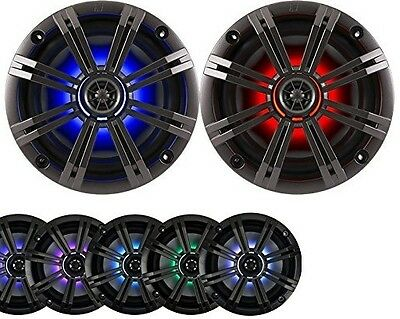 "2-Speakers Kicker 6.5"" 195W Marine Audio Coaxial Color LED Lights Charcoal Grill"
