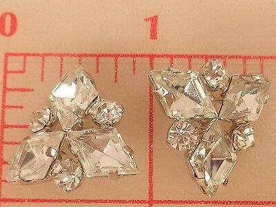 "2 vintage silver rhinestone Czech shank buttons triangle shape 7/8"" 22mm 292"