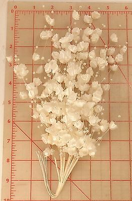 1 dozen vintage ivory bell cup flowers with pearl beads on wire stems R9 12""