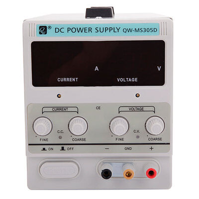 30V 5A Variable Adjustable Lab Digital DC Power Supply 110V W/ Clip Cable