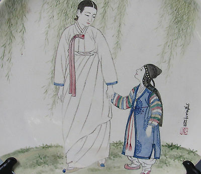 Antique Korea Ironstone Corp Couple Peacock Signed Mother & Child 12 inch plate