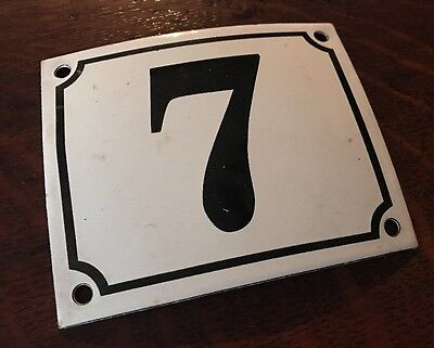 Vintage FRENCH White PORCELAIN DOOR HOUSE GATE Number Plate Sign 7