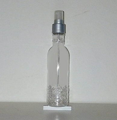 6 oz Clear PET Plastic Fancy Bottles with silver spray caps,  qty 140 bottles