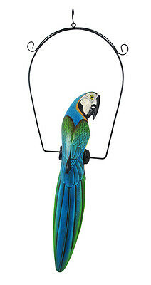 Teal and Green Hand Painted Wooden Parrot Hanging Statue 23 Inch