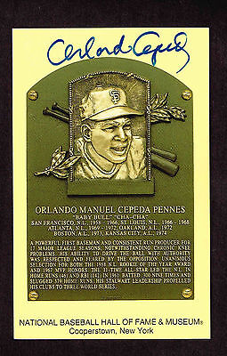 ORLANDO CEPEDA  SIGNED Hall Fame Plaque HOF Yellow  Postcard Autographed  COA