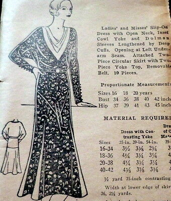 RARE VTG 1930s DRESS Sewing Pattern 18/36 OLD DEADSTOCK