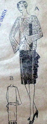 RARE VTG 1920s EVENING DRESS Sewing Pattern BUST 38 OLD DEADSTOCK
