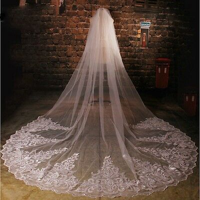 2017 Cathedral Bridal Veils With Lace Edge Wedding Veil Long Wedding Accessorie