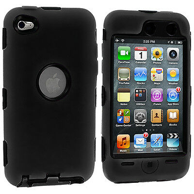 DELUXE BLACK 3-PIECE HARD/SKIN Cover Case FOR IPOD TOUCH 4 4G 4TH GEN+PROTECTOR