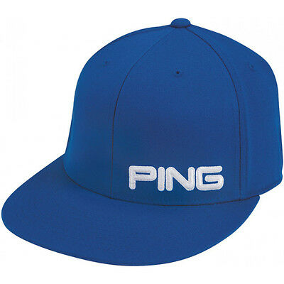 NEW Ping Golf Flat Bill Fitted Hat Royal Blue Small/Medium S/M
