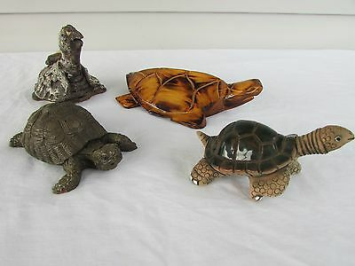 Lot of 4 Turtles Fiji Wood Carved Ceramic Pottery Some Signed Dated