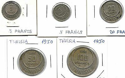 Tunisia 1950-1957 Lot Of 5 Coins