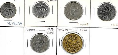 Tunisia  Lot Of 6 Coins