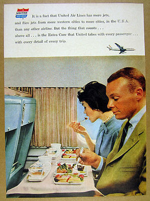 1960 United Air Lines passengers eating meal color photo vintage print Ad