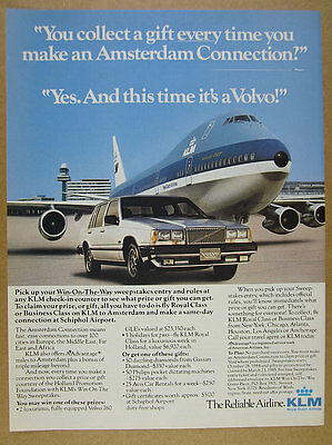 1984 KLM Boeing 747 Jet & Volvo 760 GLE at Schiphol Airport photo vintage Ad