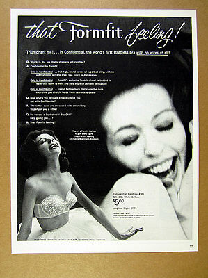 1960 Formfit Confidential strapless Bra woman photo vintage print Ad