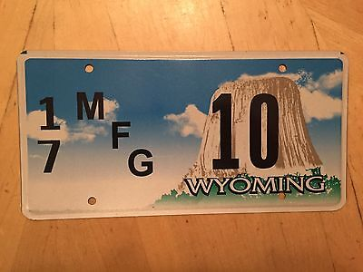 "Wyoming Mfg License Plate "" 17 10 "" Wy Manufacturer  Wyo Campbell Co Low No"