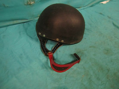Vintage HELMET Horse Hunt Race Riding Polo Black W/Leather Strap? Nice Jockey