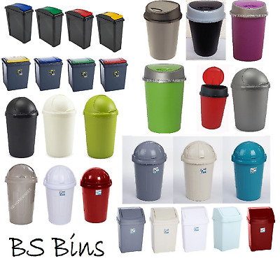 New Plastic Swing Bullet Recycle Recycling Touch Top Bin Waste Dustbin Large Lid