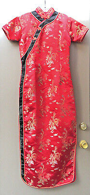 Cheong Sam 40 or M in Satin Red Dragon Brocade Long Dress